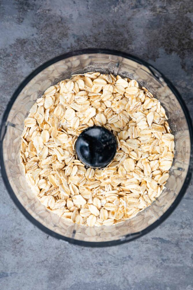 Overhead shot of old fashioned oats in a food processor
