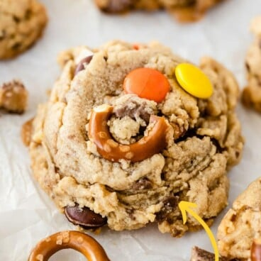 Photo collage showing toffee pretzel peanut butter cookies with recipe title on top