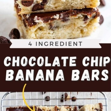 Photo collage of easy chocolate chip banana bars with recipe title in middle of photos