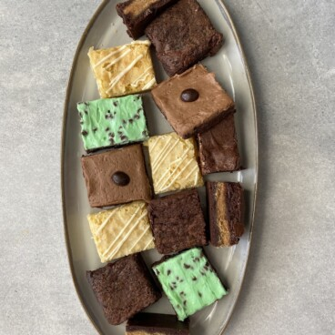 overhead shot of plate of brownies