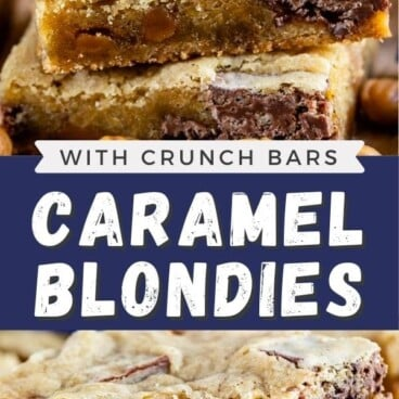 Photo collage of caramel crunch blondies with recipe title in the middle