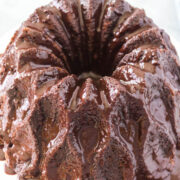 Overhead view of easy chocolate bundt cake covered in chocolate ganache
