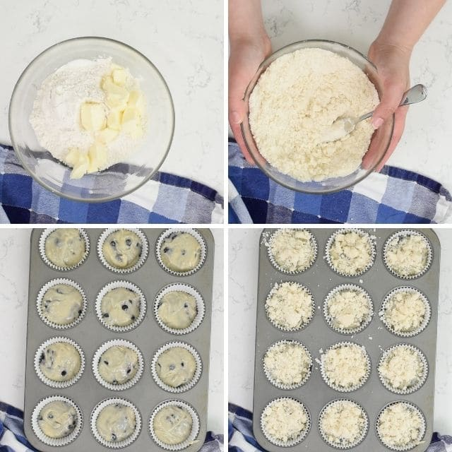 How to make the best blueberry muffins collage photo