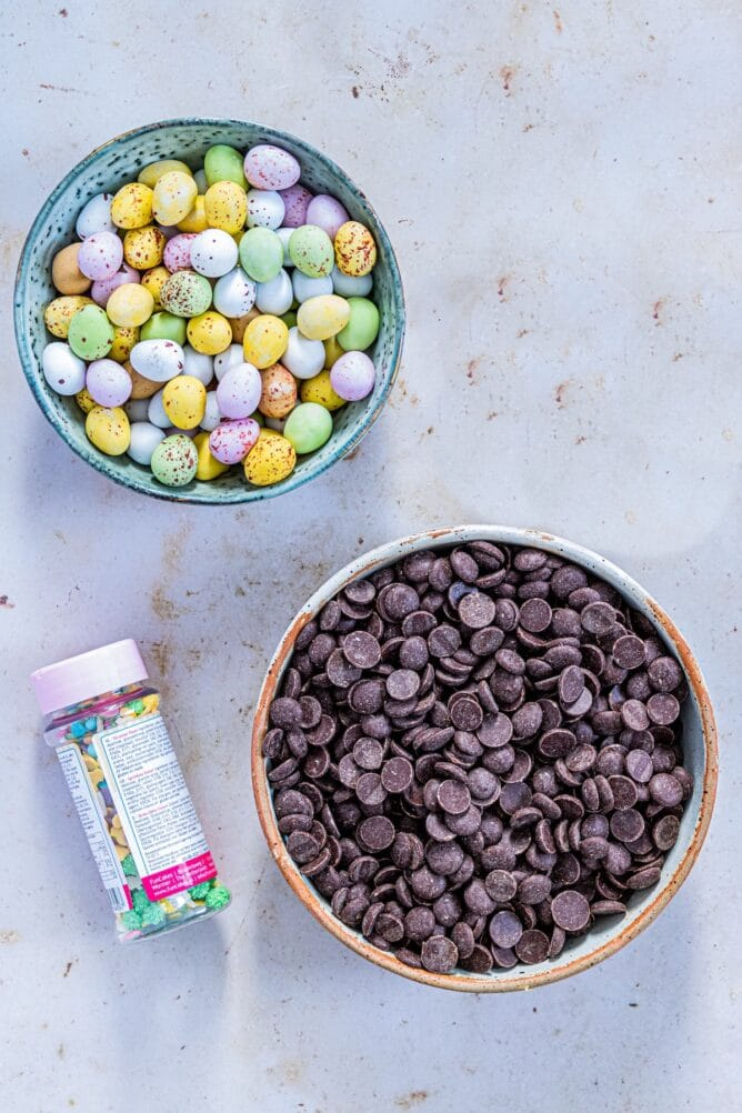Overhead view of the three ingredients needed to make easter candy bark