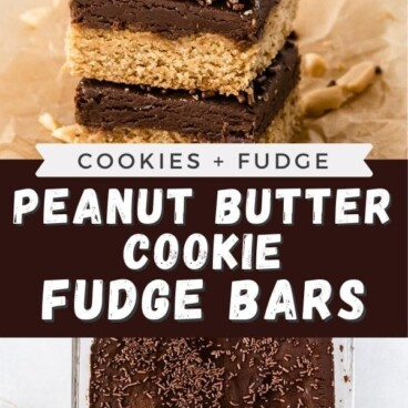 Photo collage of peanut butter chocolate fudge bars with recipe title in the middle