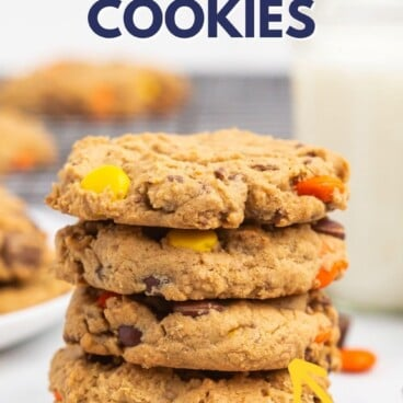 Stack of Reese's overload peanut butter cookies with recipe title on top of image