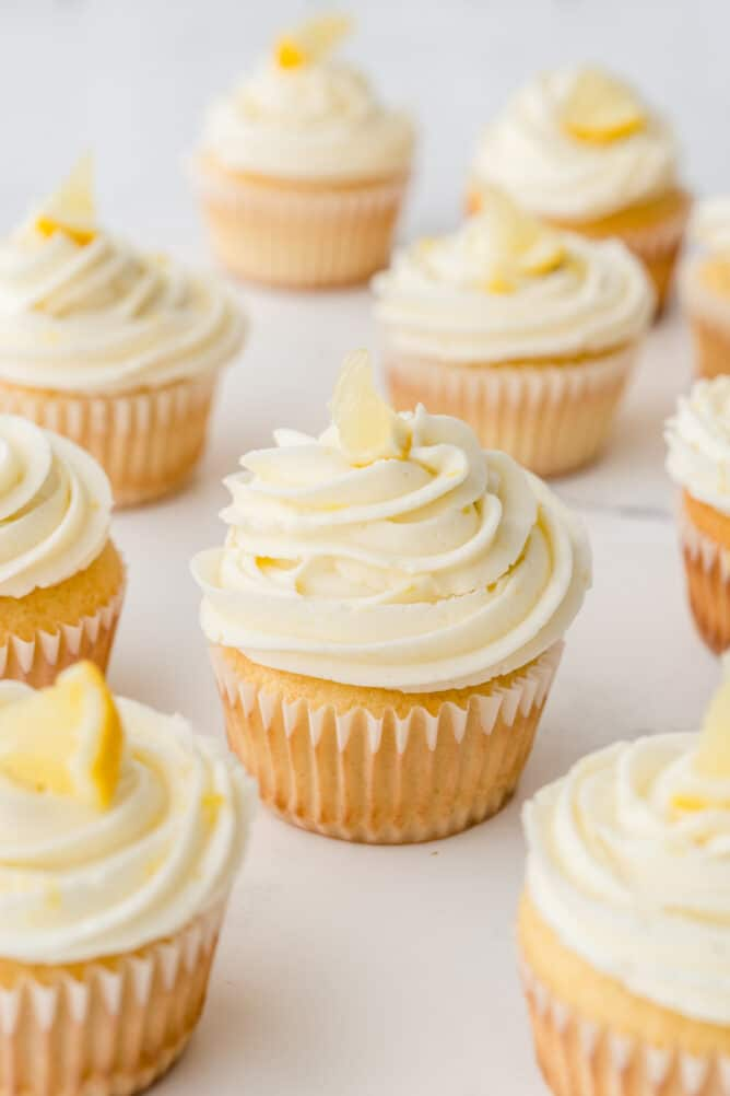 A bunch of perfect triple lemon cupcakes topped with lemon buttercream