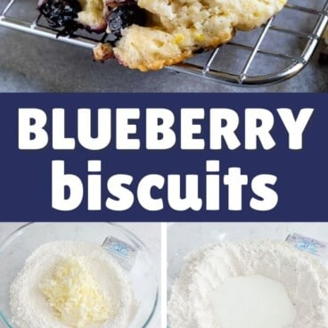 collage photo with blueberry biscuits on top and 4 photos showing how to make them with challenge butter packaging
