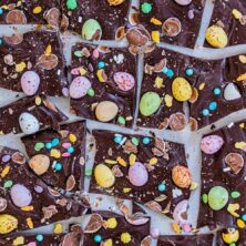 Overhead view of easter candy bark with recipe title on top of image