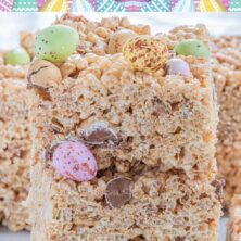 Close up shot of Easter rice krispie treats with chocolate eggs