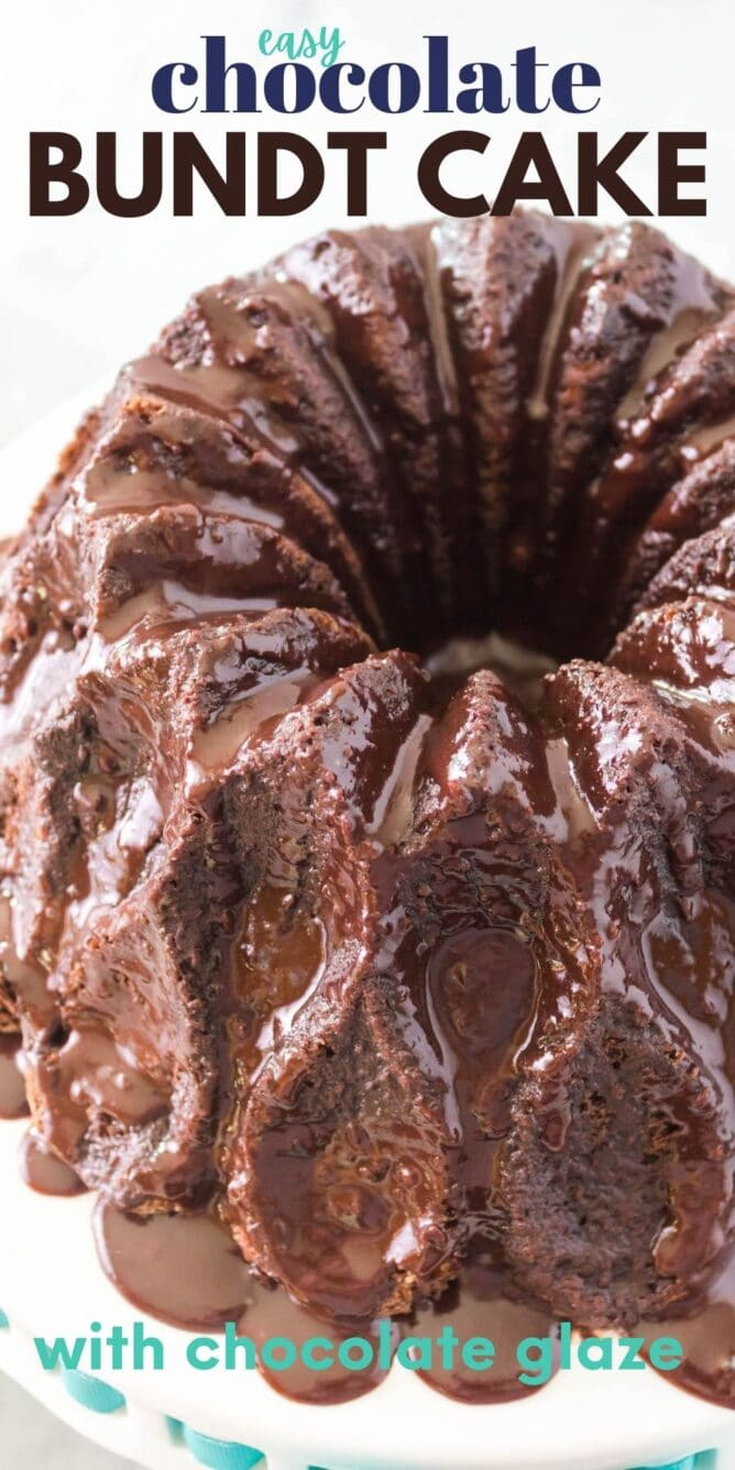 Overhead view of easy chocolate bundt cake covered in chocolate ganache and recipe title on top of image