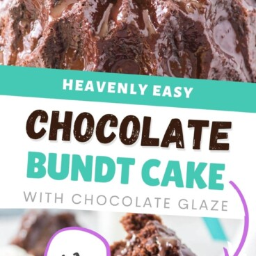 Collage of easy chocolate bundt cake photos with recipe title in the middle