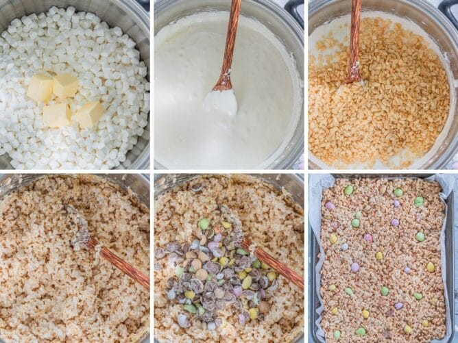 Overhead shot of six photos showing the process of making Easter rice krispie treats