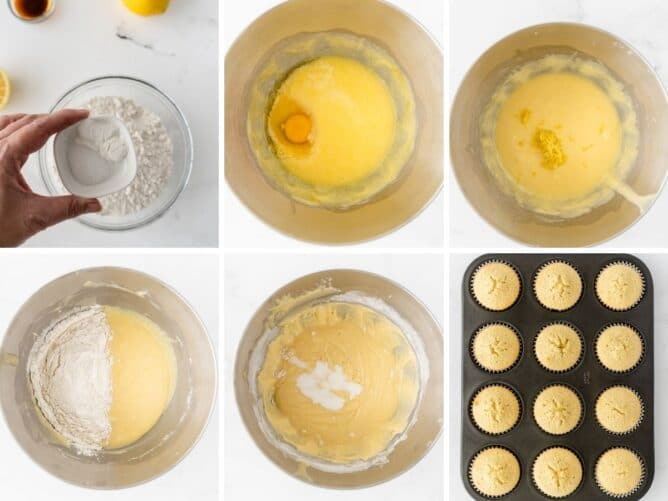 Overhead collage of 6 photos showing the steps to make perfect triple lemon cupcakes