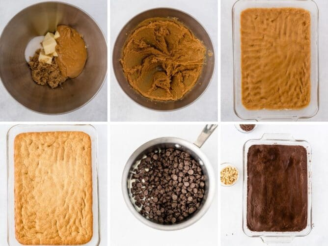 Overhead shot of six photos showing the process for making peanut butter cookie fudge bars