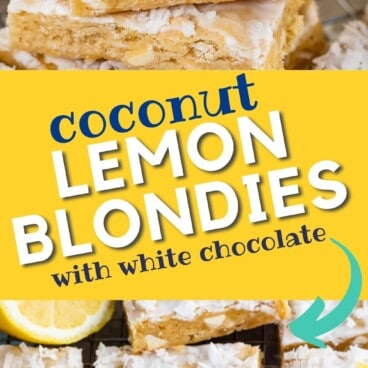 Two photo collage of lemon coconut blondies with recipe title in middle of photo