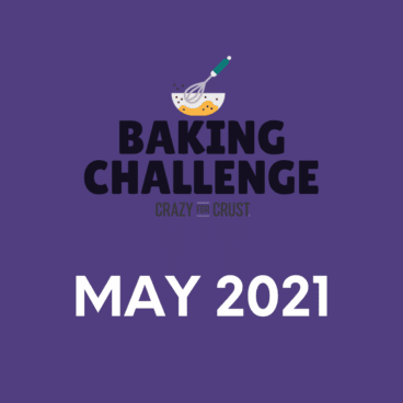 graphic: purple square with baking challenge logo and words May 2021