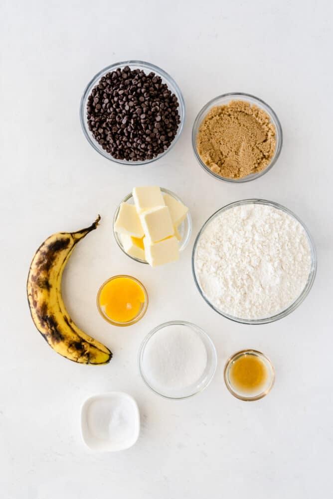 ingredients in bowls to make banana cookies