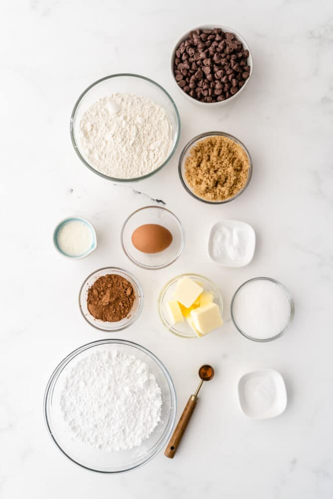 Overhead view of all measured ingredients needed to make cookie cake