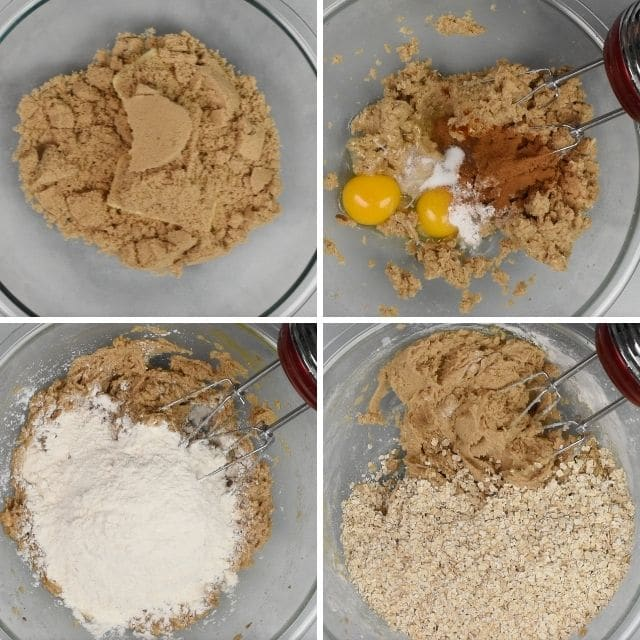 Four photo collage showing process of making oatmeal raisin cookie dough