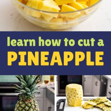collage of bowl of pineapple with 4 photos showing how to cut pineapple with words on photo