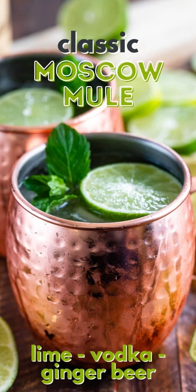 Classic moscow mule in copper mug topped with mint leaves and a lime slice with recipe title on top of image