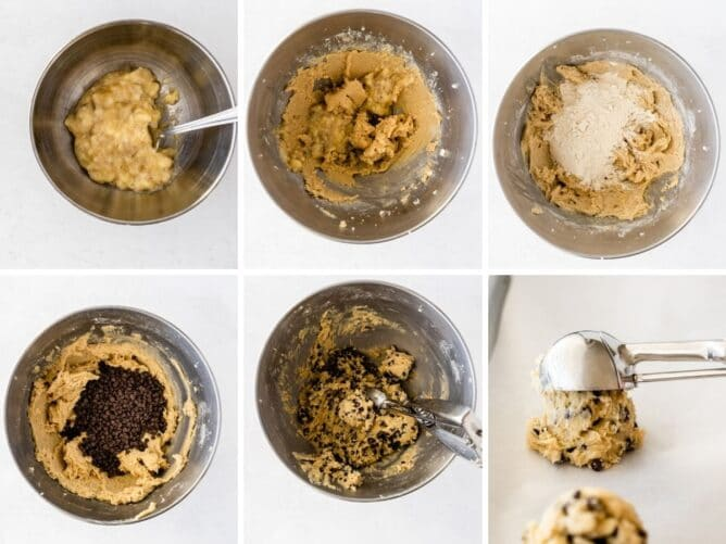 Six photo collage showing the process of making banana chocolate chip cookies