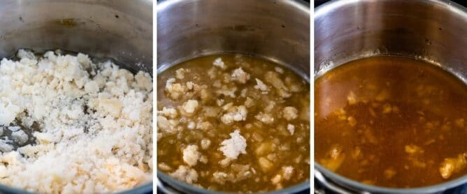 Three photos showing process of making this easy homemade caramel sauce