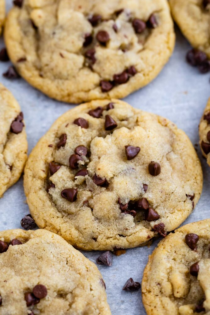 Close up overhead shot of small batch chocolate chip cookies