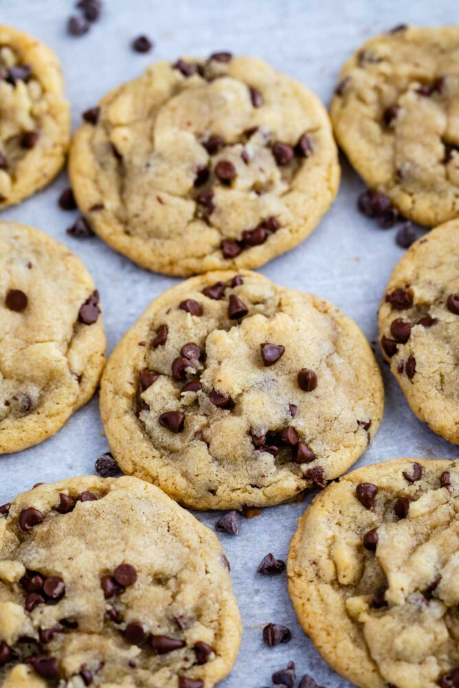 Overhead view of small batch chocolate chip cookies