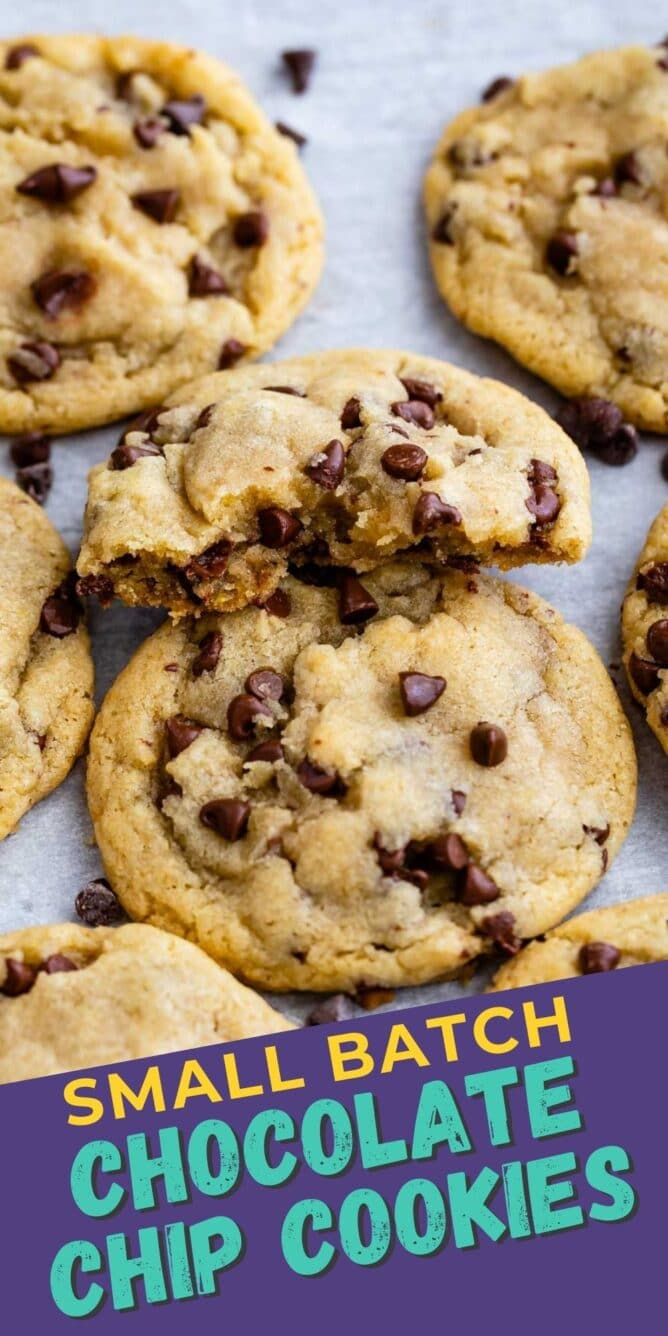 Overhead view of small batch chocolate chip cookies with recipe title on bottom of photo