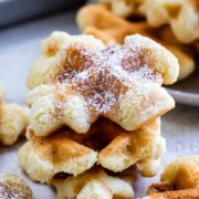 Close up shot of a stack of waffle cookies