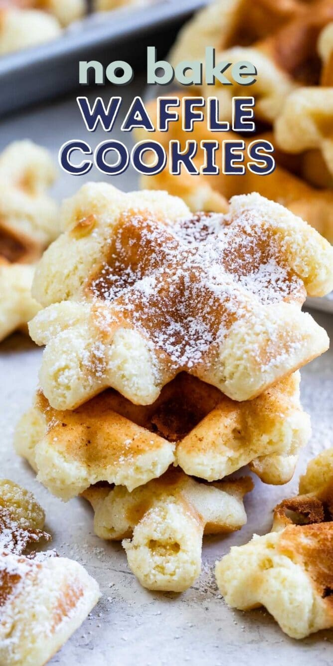 Stack of no bake waffle cookies with powdered sugar on top and recipe title on top of image