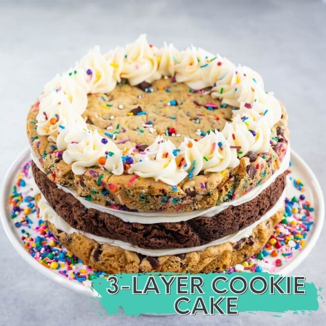 cookie cake with three layers and frosting and sprinkles