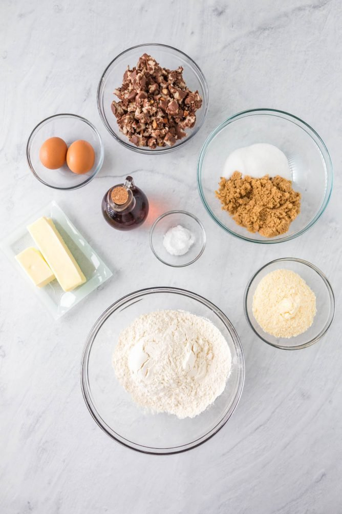 Overhead shot of measured ingredients needed to make almond joy pudding cookies