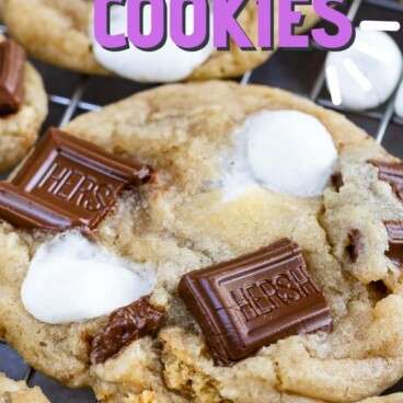 Close up shot of s'mores cookies with recipe title on the top of image
