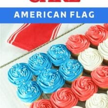 Side shot of american flag cupcake cake with recipe title on top of image