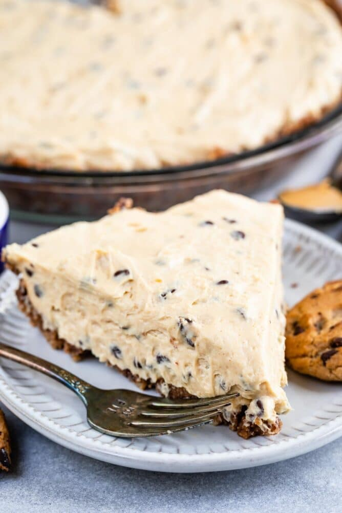 One slice of chocolate chip peanut butter pie