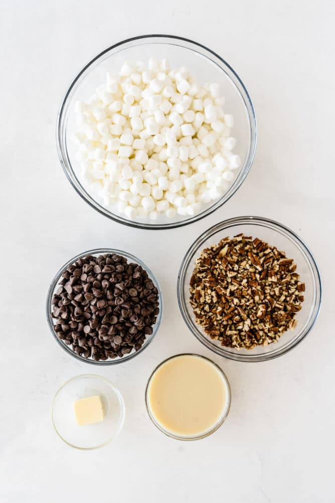 Overhead shot of all the ingredients needed to make easy rocky road bars