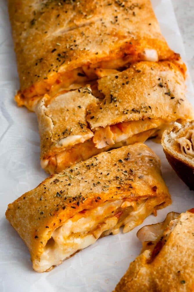 close up of sliced Stromboli
