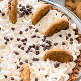 No bake chocolate chip cookie pudding pie with recipe title on top