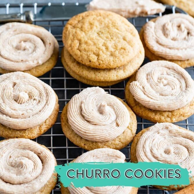 churro cookies on a rack with frosting