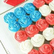 Side shot of american flag cupcake cake
