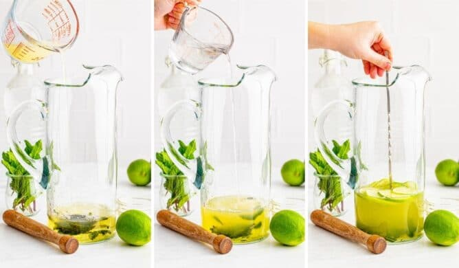 Three photo collage showing second steps in making pitcher mojitos