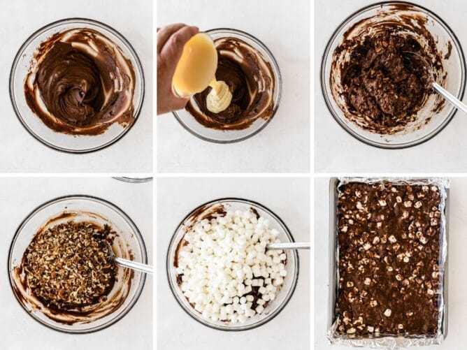 Six photo collage showing the process of making easy rocky road bars