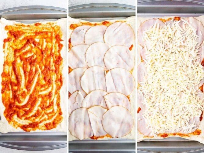 how to make turkey cheese Stromboli process shot photo
