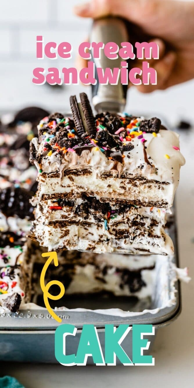 One corner piece of ice cream sandwich cake being scooped out of pan