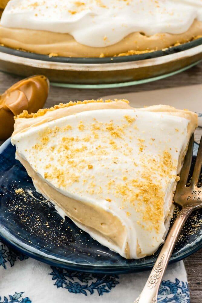 slice of pie on blue plate