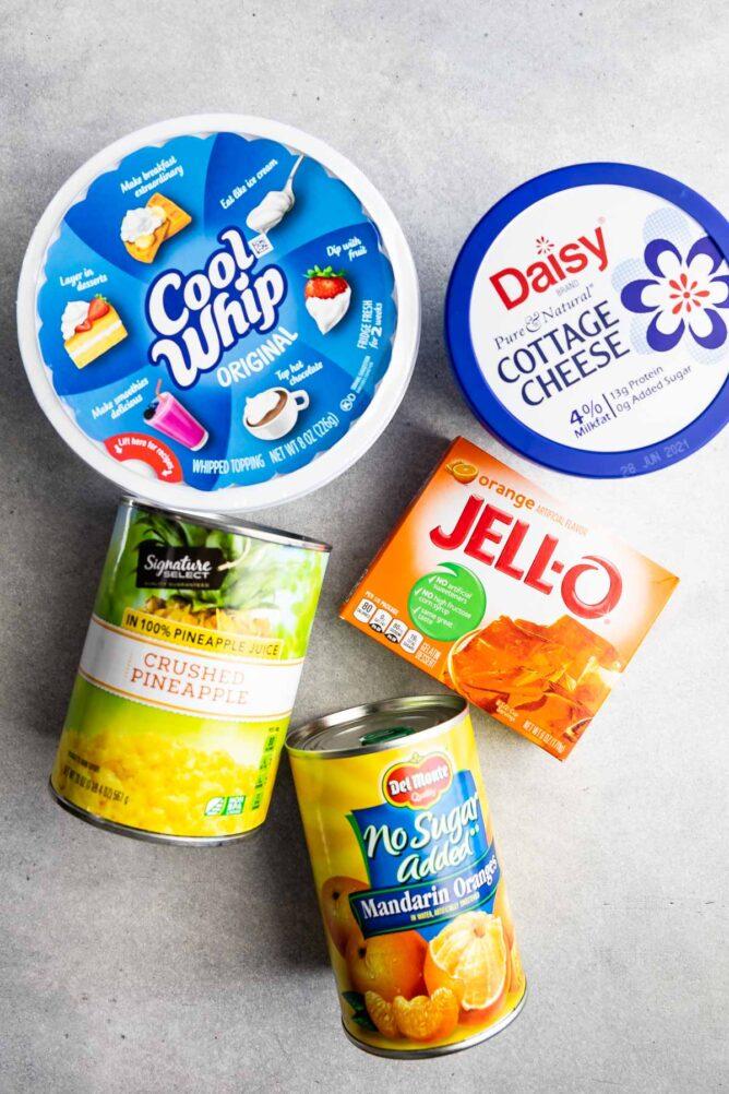 Overhead shot of ingredients needed to make orange jello salad
