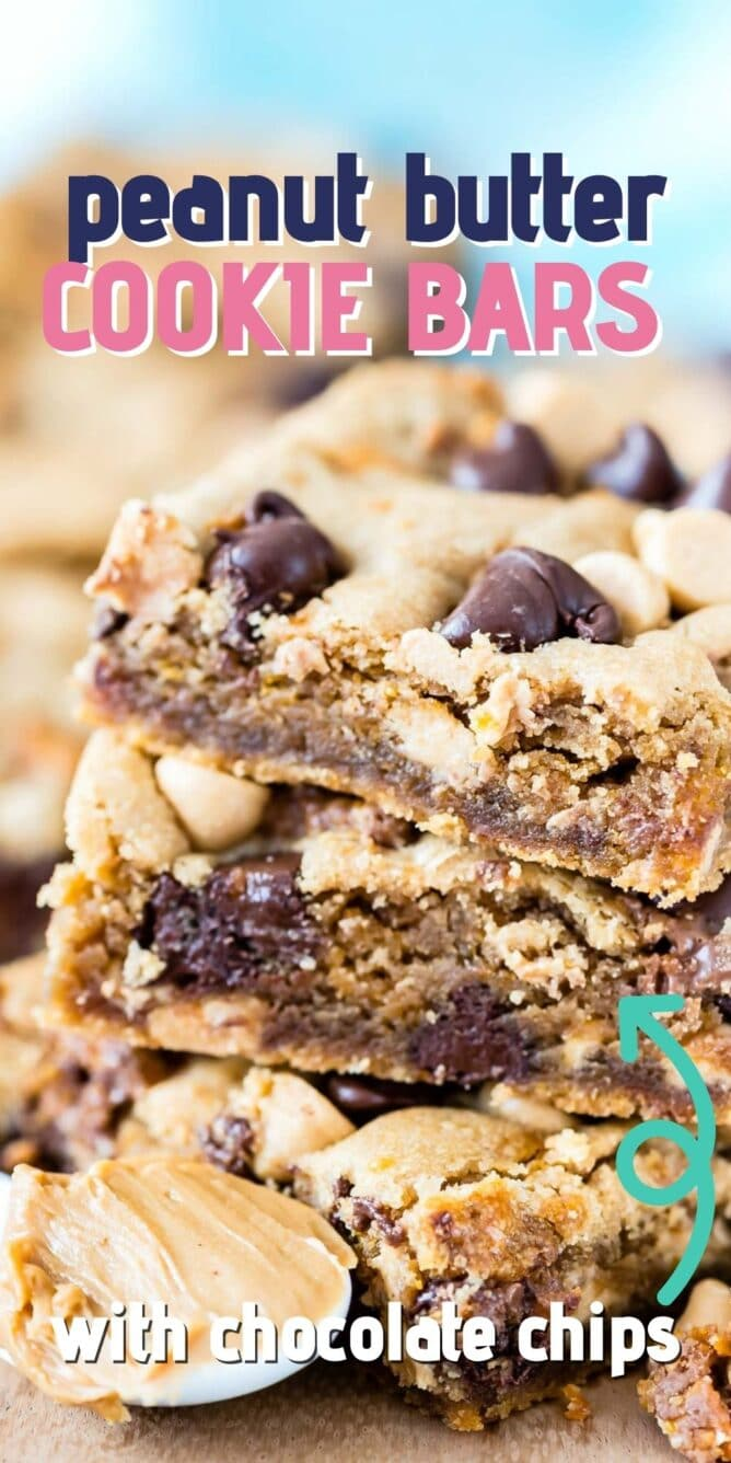 Stack of peanut butter cookie bars with recipe title on top of image